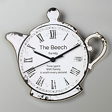 Personalised Teapot Shape Wooden Clock Delivery UK