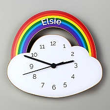 Personalised Rainbow and Cloud Wooden Clock Delivery UK