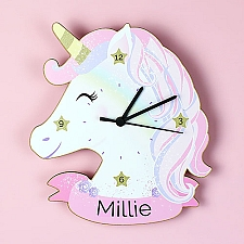 Personalised Unicorn Shape Wooden Clock Delivery UK