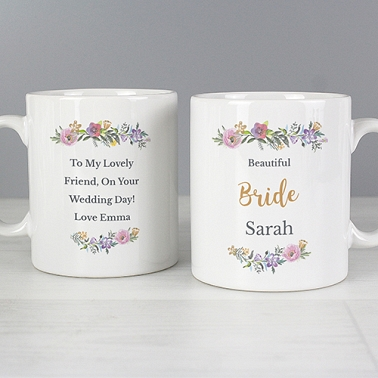 Personalised Floral Message Mug Delivery to UK