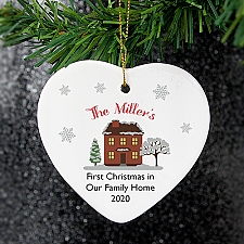 Personalised Cosy Christmas Ceramic Heart Decoration Delivery UK