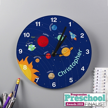 Personalised Solar Sytem Glass Clock Delivery UK