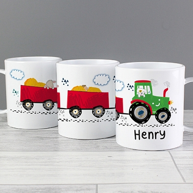 Personalised Tractor Plastic Mug Delivery to UK
