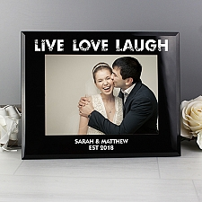 Personalised Love Black Glass Photo Frame Delivery UK