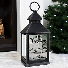 Personalised Town Christmas Rustic Black Lantern Delivery UK