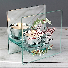 Personalised In Loving Christmas Mirrored Candle Holder Delivery UK