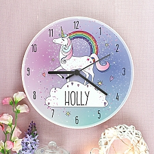 Personalised Unicorn Wooden Clock Delivery UK