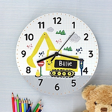 Personalised Digger Wooden Clock Delivery UK