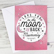 Personalised To The Moon and Back Pink Card Delivery to UK
