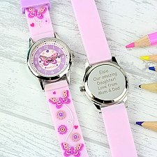 Personalised Kids Pink Watch With Presentation Box Delivery UK