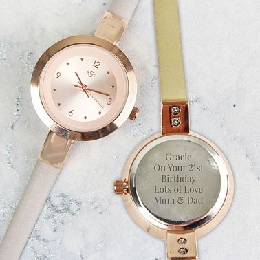 Personalised Gold Faux Leather Ladies Watch Delivery UK