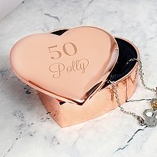 Personalised Big Age Rose Gold Heart Trinket Box Delivery UK