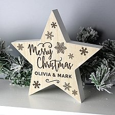 Personalised Merry Christmas Wooden Star Decoration Delivery UK