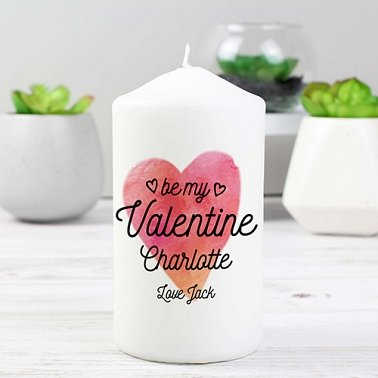 Personalised Be My Valentine Pillar Candle Delivery to UK