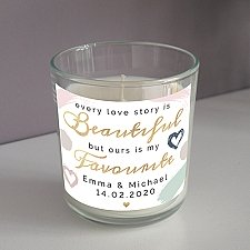 Personalised Love Story Scented Jar Candle Delivery to UK
