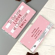 Personalised Pink Christmas Milk Chocolate Bar Delivery UK