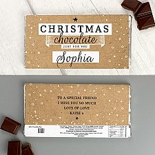 Personalised Christmas Milk Chocolate Bar Delivery UK