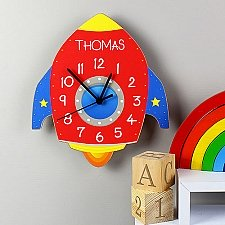 Personalised Rocket Shape Wooden Clock Delivery UK