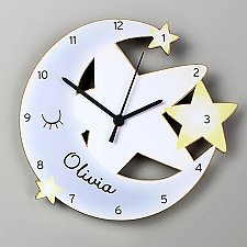 Personalised Moon and Stars Wooden Clock Delivery UK