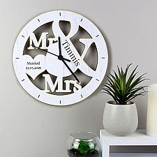 Personalised Mr & Mrs Wooden Clock Delivery UK