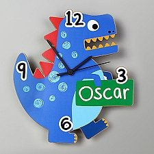 Personalised Dinosaur Shape Wooden Clock Delivery UK