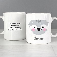Personalised Cute Sloth Face Mug Delivery UK