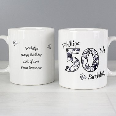 Personalised Floral Birthday Mug Delivery to UK