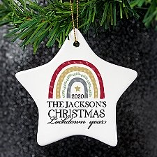 Personalised Christmas Lockdown Ceramic Star Decoration Delivery UK