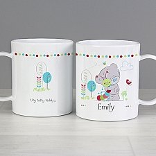 Personalised Teddy Cuddle Plastic Mug Delivery to UK