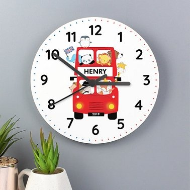 Personalised Animal Bus Wooden Clock Delivery UK