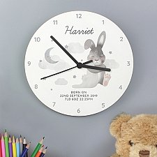 Personalised Bunny White Wooden Clock Delivery UK