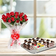 24 Red Roses with 12 Pastries - PC Hotel delivery to Pakistan