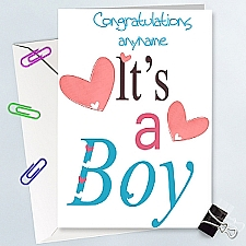 Congratulation On A Boy - Personalised Cards