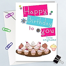 Happy Birthday Cupcakes - Personalised Cards