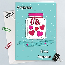 Love-Hearts in Jar-Personalised Card