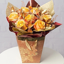 Copper Sparkle Rose Bag Delivery to UK
