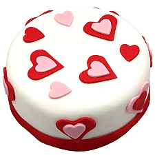 Pink n Red Heart Cake Delivery UK