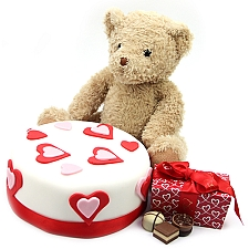 Love Cake with Teddy and Chocolates Delivery UK