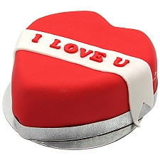 I Love U Ribbon Heart Cake delivery UK