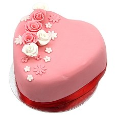 Rose Topped Heart Cake Delivery UK