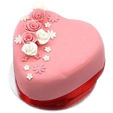 Rose Topped Heart Cake