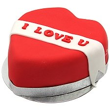 I Love U Ribbon Heart Cake delivery UK