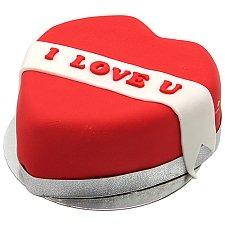 I Love U Ribbon Heart Cake