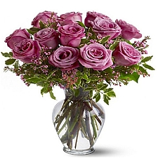12 Long Stem Lavender Roses delivery to Canada