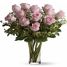 12 Long Stemmed Pink Roses delivery to Canada