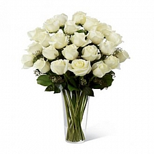 24 Long Stemmed White Roses delivery to Canada