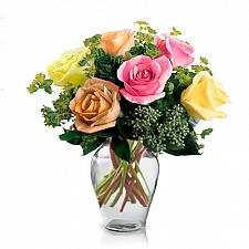 6 Mixed Long Stem Roses delivery to Canada