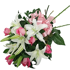 White Lilies & Pink Roses delivery to Canada