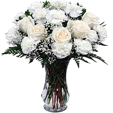 White Roses & White Carnations delivery to Canada