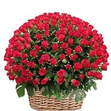 100 Red Roses Basket delivery to India